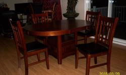 Newly purchased Oak kitchen dining set. Only one month old. Immaculate condition. No scuffs or scratches. Purchased from The Brick. Valued at $799.00.
