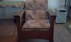 Antique Oak Morris Chair with ajustable back/roller feet. May need new cushions