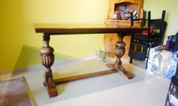 Solid oak, top comes off so easy to move. Top is refinished but bottom is original. We are moving so motivated to sell.