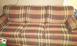 """GUC. Well loved matching sofa and chair set. Wanting to move fast. There is about a 3"""" tear on 1 corner cushion of the sofa, unseen when the cushion is flipped to the other side. Must be picked up. Cross posted. Text or email."""