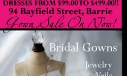 Huge OFF THE RACK GOWN SALE! Andrea's Bridal Shoppe located @ 94 Bayfield Street, Barrie. (705) 812-1862 Wedding gowns from $99.00 to $499.00. 50% off all in stock Mother of the Bride Dresses. 25% off all in stock Tiaras, Veils & Jewelry. Select in Stock