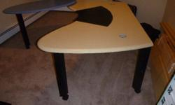 """Formica topped Office Desk. very strongly builtHeight adjustable 29""""-35"""". width 73"""", depth 30"""". Casters (lockable). Pivot wing 48"""", can be mounted on the left or right hand side. Desk comes apart for shipment. I can drop off if you're in the area. Cold"""