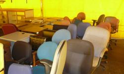 OFFICE FURNITURE   Office Desks/Tables, Filing Cabinets, Book Shelves and Chairs. Various sizes and styles. Priced at $10.00 to $75.00. Items are fair to good condition.   Desks: 5 foot w/ left hand turn   5 foot straight     6 foot straight (missing