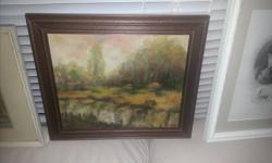 Landscape oil, wood framed, @11�14. Signed C. Yonuk '86. Frame job intact at back.