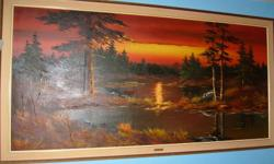 """HUGE ORIGINAL OIL PAINTING by Artist """" KIM """" This is a huge Original Oil Painting on Canvas SIZE : 91"""" wide x 47"""" high Framed   LANDSCAPE ~ AUTUMN SCENE ~ RIVER & TREES PAINTING's VALUE $ 3,000.00 Selling because I don't have the space for it anymore ~"""