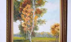 For sale is an old painting - Fall landscape on board, artist is L. LEES signed no date, artist used the board that previous painted (see photos) - So two painting in one board size: 6.75 x 12.75 + frame... Colour vivid Asking $75
