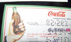 old Coca Cola cheques , one from cedertown 1941 , sylvania 1943 , greenwood 1942 cedertown 1941 and the fifth cheque is NEHI bottling company 1954 , all four coke cheques are in great condition, the nehi cheque has damage to the corner. would look nice