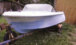 14ft Thermocraft fiberglass boat , light blue in color , hull good, floatable. Does NOT have a motor, takes outboard type. has steering wheel, and seats are very good shape. Comes with trailer, Trailer is not insure-able as is, have no papers for