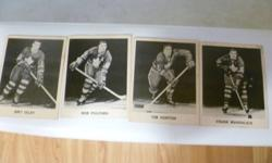 I have 15 Toronto Maple Leafs Black and white cards from 1965 in very good shape they include Tim Horton Frank mahovlich Eddie Shack Terry Sawchuck  bobby Baun and Dave Keon also included is a mint condition Don Cherry Rookie card (Coach Card) it is worth