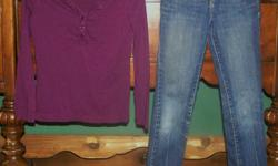 OLD NAVY Very Pretty and pristine long sleeve top with ruffled and button up placket Size Medium (color in photo is true to life) Very Cute and pristine skinny jeans with inside adjustable waist Size 7 Skinny Distressed knees and backside area (photo is