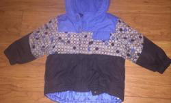 Boys OLD NAVY winter jacket; light blue, dark blue & grey. Warm, in good condition. Size 18-24 months.