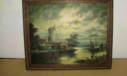 "Oak frame with classic windmill print.No glass. 23"" x 19"" 15"