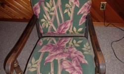 Old fabric covered rocking chair, good condition