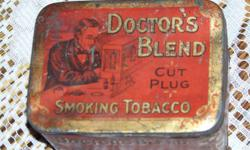 Marked on the side of the tin manufactured by : THE B HOUDE COMPANY LIMITED QUECEC CANADA FOR THE UNITED CIGAR STORES LIMITED ESTABLISHED 1886 .Guaranteed will not bite or burn the tongue etc etc.. very old advertising antique advertising smoking tobacco