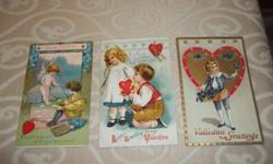 "Victorian Valentines! Featuring 3 Postcards to choose from, $15.00 each. Dates:1910-1915 #1 reads ""Loves Fortune"", ""A light lady will give you her heart"" (no postmark or stamp) #2 reads ""Loves Greeting to my Valentine"", ""If you'll be my Sweetheart I will"