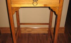 28 1/4 TALL 18.5 WIDE 15 1/4 DEEP -INCHES BELIEVE TO BE OAK OLDER TABLE -IN USED CONDITION STILL SHOWS NICE