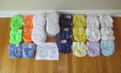 We are selling 18 diapers and 37 inserts: 4 White 2 Yellow 1 Light Blue 19 Smaller Inserts 3 Purple 2 Green 1 Light Mauve 18 Larger inserts 2 Orange 2 Mauve 1 Light Yellow Each diaper has a series of twelve snaps, lets you adjust the diaper to four