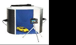 """Portable photo studio light tent. Complete and in great condition - only lightly used. See Youtube video. On sale now at Henry's for $119 + tax = $134.47 new Get it here for a great price! - Photo Tent (16"""" Cube) - Double Sided Backdrop (Blue/Grey) - 2"""