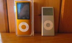 The grey one is still in perfect working condition. Thiers hardly any scratches. It is 2GB, 1st generation. It is fully charged. It has a couple songs on it but i can take them off if you would like.   The orange one is also fully charged and their is no