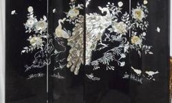 """Oriental panel/ divider. High gloss black laquer finish with real mother pearl inlay. High gloss black lacquer finish. All hand made in Korea. A one of a kind rare piece of art. Each panel is 15 """" W X 64 """" H. Total of four panels expand to 60 """" X 64 """"."""