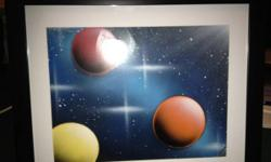 Done with spray paint , it is an original done and signed by me, I have many of them , all are 11x14 . Prices vary from 15-30$ unframed. For frame add 25 $ to painting price. I have many of these paintings to match room colors or your favorite colors.