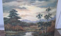 """I am selling an original oil painting by E.R. Mest.  Not sure of the spelling.  It is 24"""" x 20"""" without frame - stretched canvas.   There is a slight bit of damage near the top which is fixable.  All offers considered.  We bought this at an antique"""
