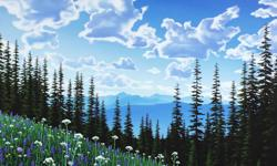 """Original painting for sale by local artist Kylee Turunen. This piece of art was done in acrylic on 1.5 inch thick gallery canvas and titled """"Mountain Bloom"""". This painting is signed. The sides are painted black and it's ready to hang. It is a large piece"""