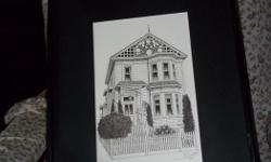 """Matted, framed and signed (Glyln Smith) original pen and ink of the Humboldt House Bed and Breakfast Inn. Size: 17"""" by 21"""""""