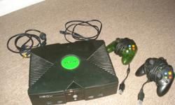 The original X-Box with two controllers and games. Good working condition...just don't use it enough. Games can be included for $4 each : Burnout 2 Madden 07 - never opened!!!! NHL 04,05,06 - 05 version never opened!!!