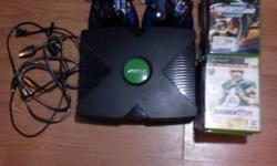 I'm selling a broken Original Xbox. It comes with 4 Original Xbox S type Controllers & 18 Games. What's wrong with the Xbox is that it rarely reads games. It can sometimes read games but you have to keep on turning the Xbox on and off and trying a disc.