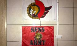 Two Ottawa Senators Car Flags 1) Top flag, Senators logo, attach to a car window $10 -- SOLD -- 2) Bottom flag, Sens Army, place in flag pole, or your car's antenna $5 Could bring the flag downtown if this is convenient
