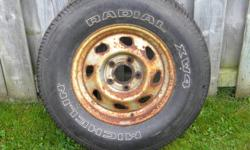 P235/70-15 Michelin XW4 tire.  Was a spare tire for Chevy S10 or S15 GMC Sonoma.  Tire has never been on the road.  Some minor weather checking.  Excellent spare tire or to match an existing tire.  $20.00  705-474-1522