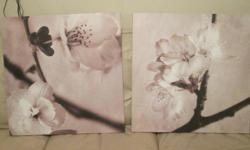 PAINTING - CANVAS PRINT - CHERRY BLOSSOMS Professionally mounted canvas prints - CHERRY BLOSSOMS. These two pieces can be hung in a number of different combinations. Each piece measure 22 inches by 22 inches. ** check out the other Art I am selling $10 -