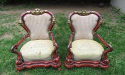 I'm not sure of the date of these chairs, and they need a little love to restore them back to their former glory, but you could imagine how nice they will be once they are restored!! ! $200 for the pair firm.