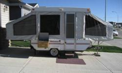 I am selling my Palomino pop-up camper. The camper has been a lot of fun for my family and would continue to bring your family many great memories. This trailer sleeps 5 easy, has stove, sink, panel box for all the power you need. This trailer is very