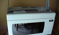"""Panasonic """"Over The Range"""" Microwave with all mounting hardware. For venting to work requires wall vent to exterior. 7 years old. Selling because of renovations. Turntable mechanism. Comes with operating manual and mounting template. 30 in wide, 16-1/2 in"""