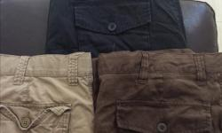 """New pair of black Old Navy pants. Size 38"""" X 32"""". Tan coloured pair of Old Navy pants. Size 38"""" X 30"""". Brown coloured pair of Old Navy pants. Size 38"""" X 30"""". All new and never worn. All three for $30"""