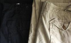 """Tan coloured pair of American Eagle Outfitters pants size 38"""" X 32"""" and black pair of Old Navy pants size 38"""" X 32"""". $5 per pair. Pair of Old Navy sold."""