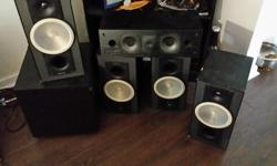 Got 4 titan v5 paradigms and a mirage Centre and a soundstage sub all work explosively. Need to bring amp for testing though. These speakers are retailed at 549.99 a pair. 250 takes them all.