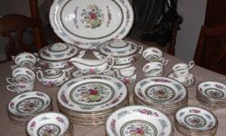 Selling full 8 piece setting of Tree of Kashmir china.  Total of 59 pieces.   Set includes dinner, salad, & bread and butter plates: rimmed soup and dessert bowls: sugar bowl and creamer: 11 cups and saucers: gravy boat and saucer: 2 covered vegetable