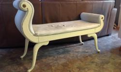 Creamy White parlour chair in good shape. Was used in a photo studio for a posing bench. Strong and durable.