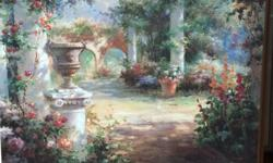 Selling a peaceful garden scenery wall art mounted on wood/laminate base. Like new / excellent condition. Measures 36 inches wide X 24 inches tall. Check out my other funky ads.