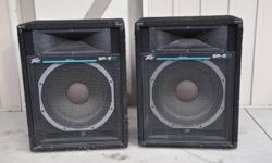 """Great Sound Start for DJ's or Bands! 2 Peavey SP5Ti speakers (1 15"""" Woofer, 1 90 X 45 Horn Tweeter, 250 watts continous), 2 Peavey 112M Floor Monitors (1 12"""" woofer, Bullet type horn, 130 watts), 1 Pioneer DJM 400 Mixer (2 channels, 3 band EQ, RCA inputs,"""