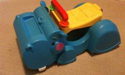 33 peek a boo blocks with hippo walker. handle folds down for a rider. dump truck and alligator. all in perfect condition. blocks fit in all. walker actually vacuums up the blocks.. quite a cute toy, kids just dont play with it anymore.. truck and gator