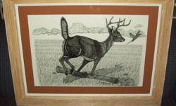 PEN & INK ORIGINAL BY LOCAL DUNCAN ARTIST JOHN CARRECK TITLED : WATCH OUT ! - FRAMED MEASURES 22X30 '' PHONE ONLY