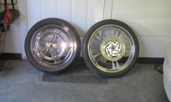 """Performance Machine mags wheel for HD Softail 2006 and up. Rear 200mm x18 Pm Chrome Billet Vilian wheel with Metezler ME880 tire. Rear Vilain Chrome pulley. Rear Chrome disk brake with hardware. Front 21"""" PM Chrome Billet Vilian wheeel with Metezler ME880"""