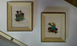 Antique Chinese theme hand made petit point pictures $25 for the set