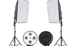 WHATS INCLUDED IN KIT: 2 x 4lamp Light Sockets 2 x 20x28 inch Softboxes 2 x Adjustable 7ft Light Stands PRODUCT HIGHLIGHTS (LIGHT SOCKETS) - will support 23w - 105w bulbs - equipped with two switches to control two bulbs at a time - umbrella socket