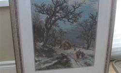 """Needlepoint framed with glass covering art.Good Condition. 29""""tall 24""""W."""