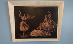 """VINTAGE 1940's PICTURE OF BALLET DANCERS BY ARTIST CHERI. THIS VINTAGE PICTURE FRAME IS UNIQUE. THE DIMENSIONS ARE - WIDTH AT THE TOP IS 31.5 """" AND THE BOTTOM IS 28.5 """" WHICH IS WHAT MAKES IT UNIQUE AS WELL AS THE ARTIST STYLE."""